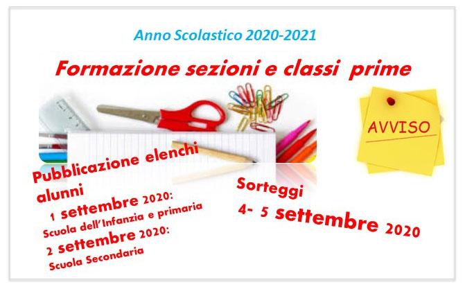 locandina pubblicazione elenchi classi prime 2020-2021