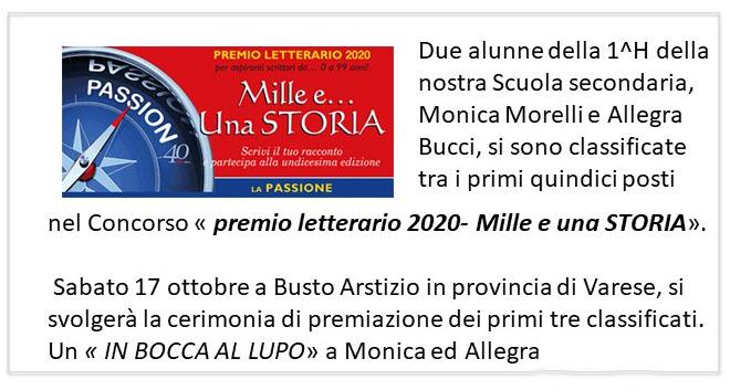 premio letterario mille e una storia 2020